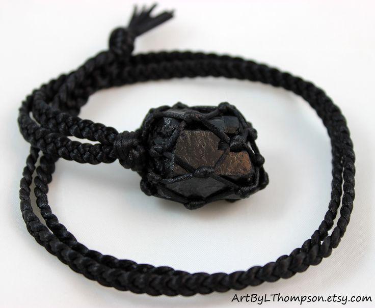 Original art by L. Thompson  Black Tourmaline Black Satin Cord Wrapped Healing Necklace