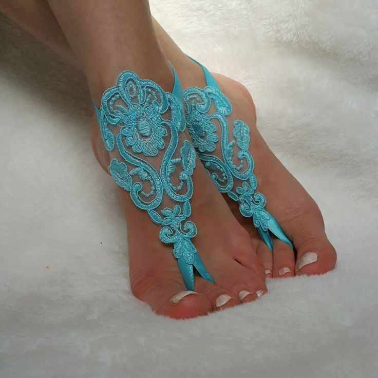 turquoise lace barefoot sandals beach wedding country wedding bridesmaid accessory bangles anklets bridal gift nude shoes