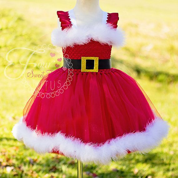Santa Tutu Dress Mrs. Claus Tutu Dress by FourSweetHeartsTutus