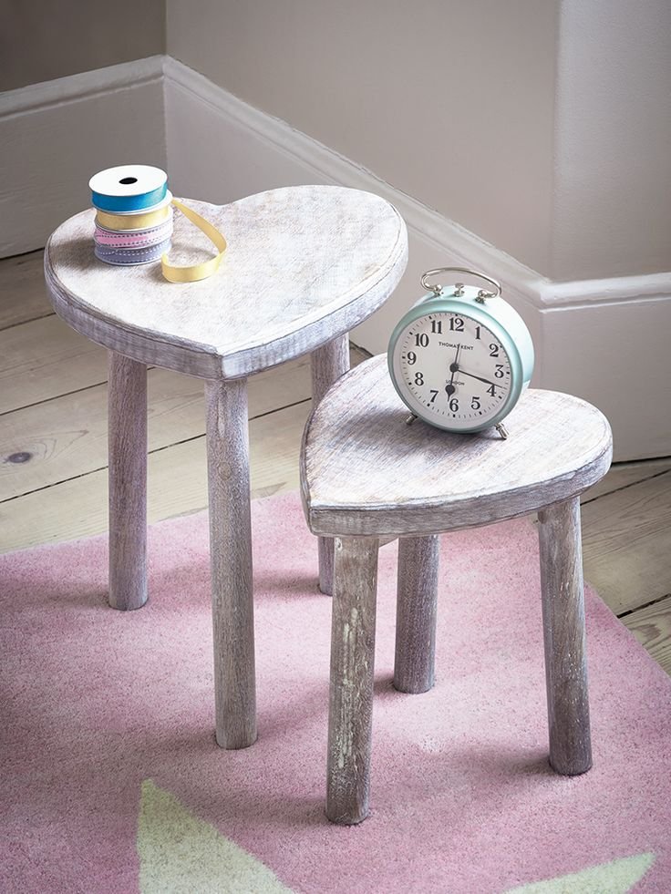 Two Small Wooden Heart Stools | Cox & Cox