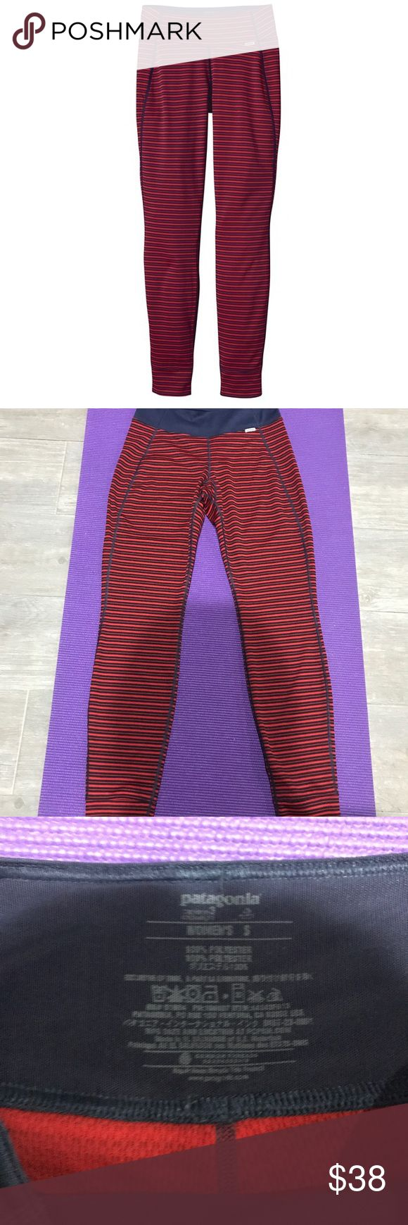 Patagonia leggings Patagonia Capilene 3 Midweight.   Retail for $80 + tax.                    MATERIAL: 5.4-oz Polartec Power Dry 100% Polyester – Solids: 65% Recycled / Heathers: 51% Recycled / Stripes: 56% Recycled FIT: Slim fit FEATURES: Stretchy double-knit fabric wicks extremely well. Durable smooth jersey face slides easily beneath layers. Fabric is brushed for softness and compressibility; provides excellent insulation and breathability. Patagonia Pants Leggings