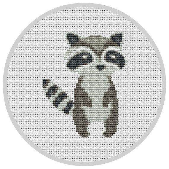 Racoon Cross Stitch Pattern for baby nursery Forest por Xrestyk
