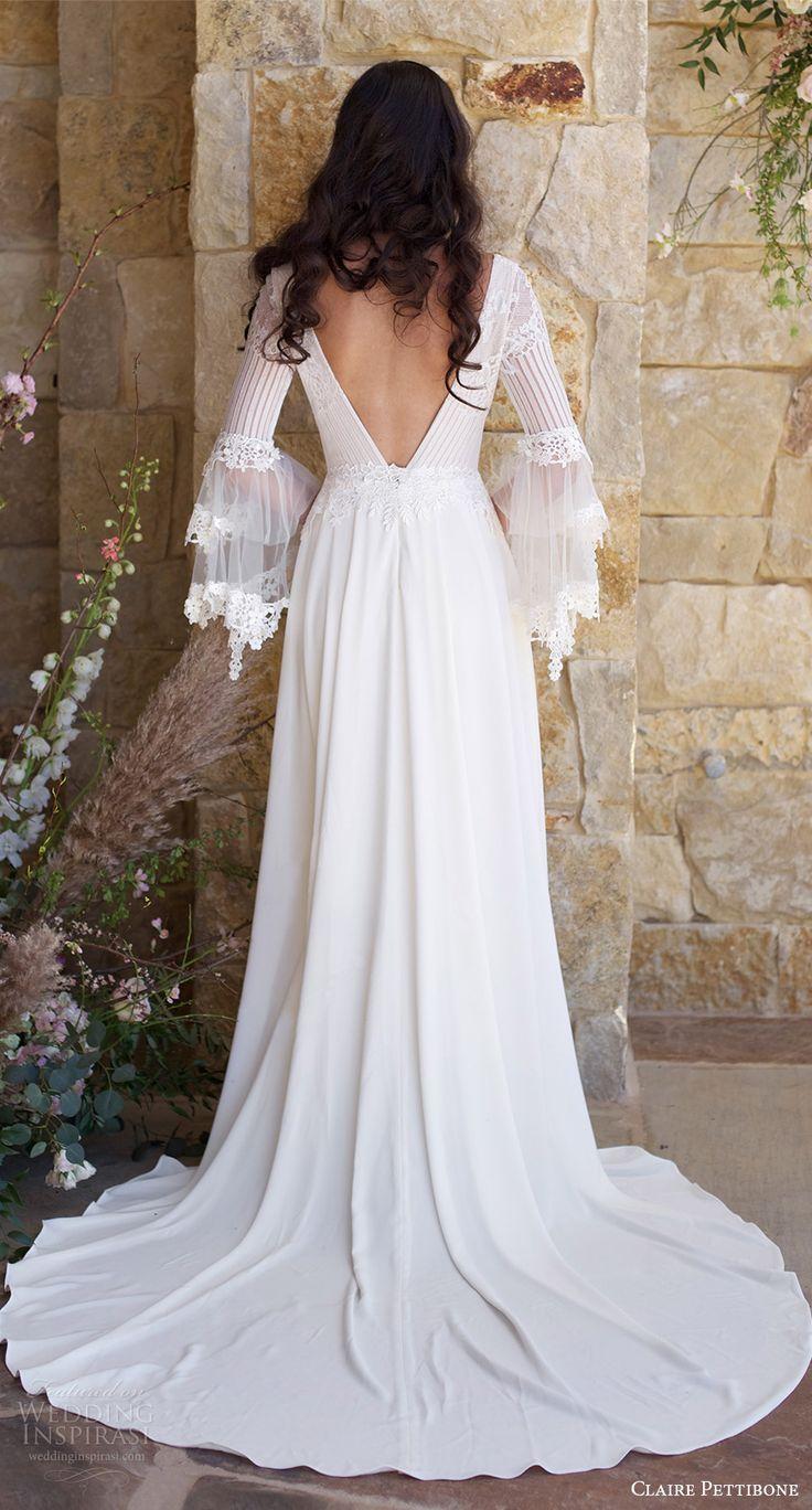 claire pettibone spring 2018 bridal long bell sleeves deep v neck lace bodice a line wedding dress (sauvignon) bv boho romantic long train -- Claire Pettibone Romantique Spring 2018 Wedding Dresses