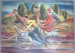 Cyclists, Canberra by Frank Hinder, watercolour, 1942