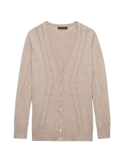Feather Touch Pointelle Long Cardigan - Banana Republic