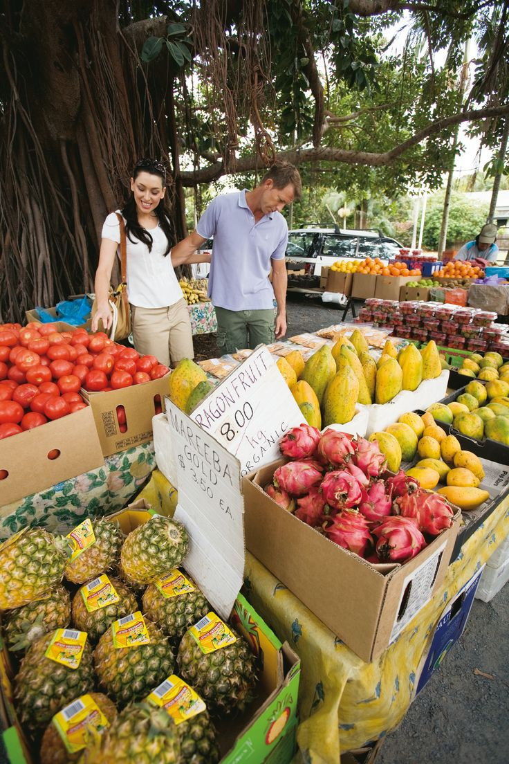 Enjoy tropical fruits in Tropical North Queensland, Markets at Anzac Park, Port Douglas. #TropicalNorth #PortDouglas