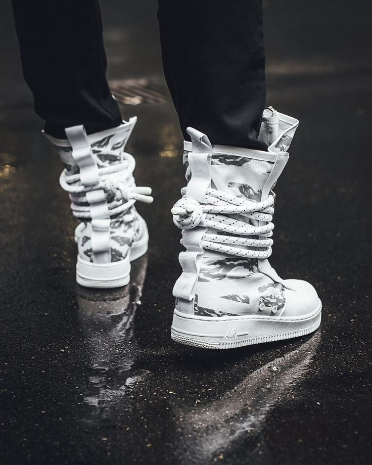 The Nike Special Field Air Force 1 High Winter Camo is featured in a lifestyle look and it's dropping on Nov. 11th.