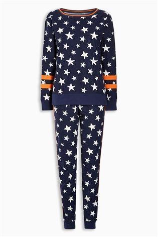 Buy Navy/White Fleece Star Print Pyjamas from the Next UK online shop