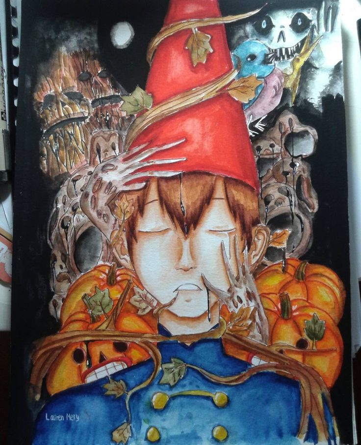 *bad quality picture* .-. Finally done!! This is #wirt from #overthegardenwall Materials: ○ sakura koi watercolour ○ sakura koi brush pens ○ white gel pen ○ faber castell classic colour pencils ○ sakura micron ○ osama watercolour (tubes)  He does not look like he's wearing his costume when he is. (@copiccraft approved when i ask :3-thank youu) I know that it doesnt have to be creepy but the miniseries really is like that. And the ghost face in the right top corner is a character :D…