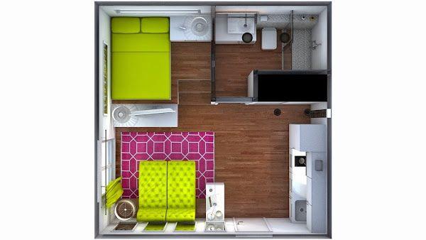 minipiso 25m2 (un pequeño loft con aire juvenil y femenino)