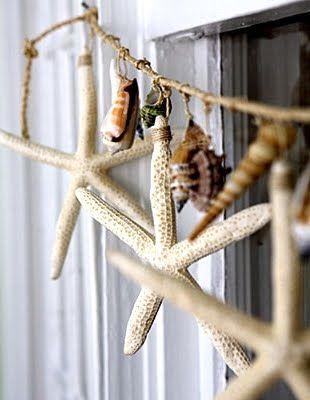 Starfish and seashell garland