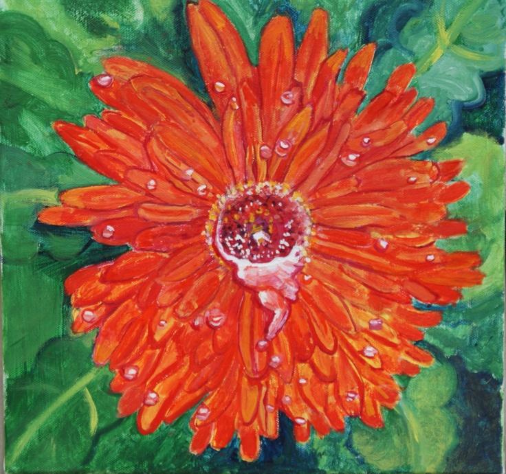 """Orange Gerbera oil on canvas 12"""" x 12"""""""