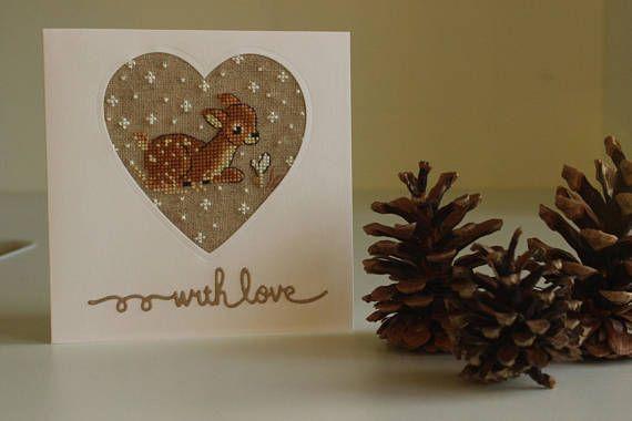 Handmade Christmas card Card with little roe-deer Cross