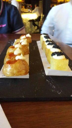Viaggio a Madrid - tapas da chef... a sx patatas bravas... a dx alioli... notevoli...