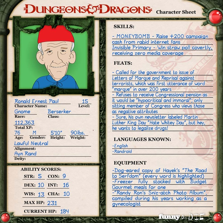 Presidential Candidates Explained Through Dungeons and Dragons Character Sheets, from Funny or Die