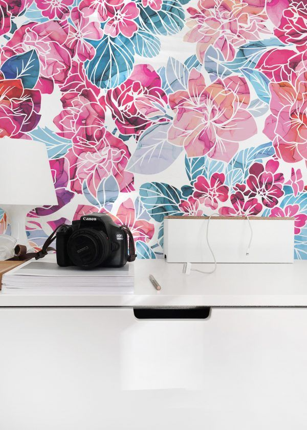 Pink And Blue Floral Pattern Peel And Stick Wallpaper Peel And Stick Wallpaper Floral Wallpaper Wallpaper