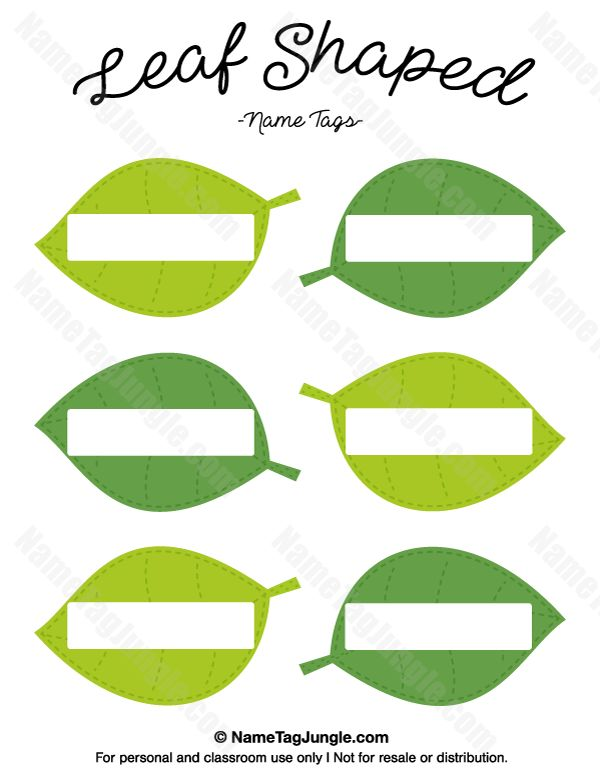 Free printable leaf-shaped name tags. The template can also be used for creating items like labels and place cards. Download the PDF at http://nametagjungle.com/name-tag/leaf-shaped/