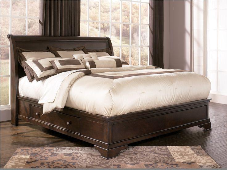 King Size Storage Bed Ashley Leighton Storage Sleigh Bed