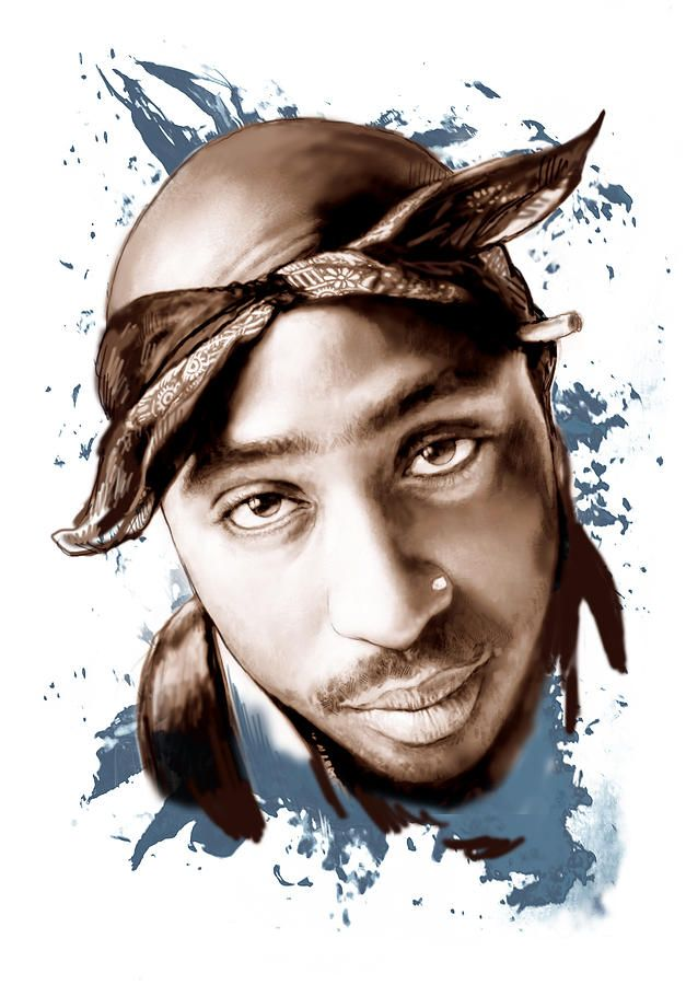 Tupac Shakur Colour Drawing Art Poster Painting