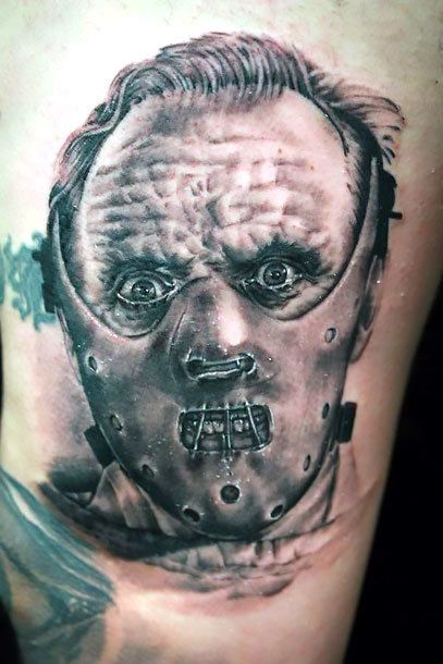 A horror portrait of Hannibal Lecter in his scary mask.