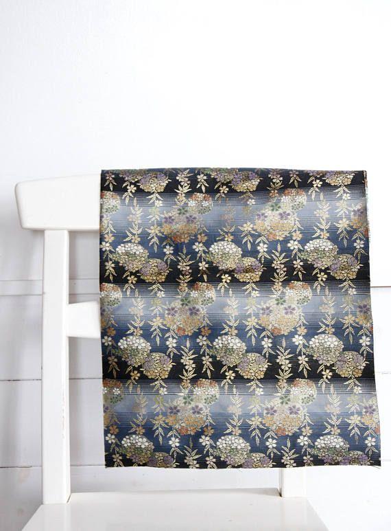 Blue Obi fabricJapanese Vintage Kimono obi materialKimono