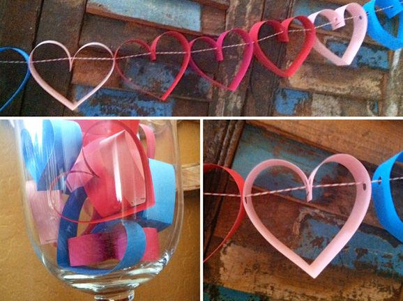 Paper Heart Garland - simple craft to dress up your home for #ValentinesDay #WayBetter