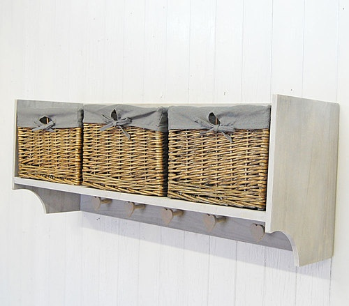 Wall shelf storage unit with lined willow basket storage for Peg rail ikea