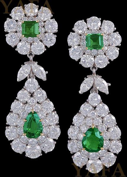 VAN CLEEF & ARPELS Diamond and Emerald Ear Clips - Yafa Jewelry