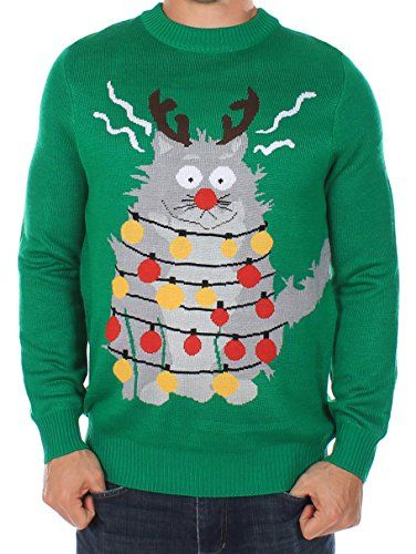 Men's Ugly Christmas Sweater - The Electrocuted Cat Sweater Green - http://www.fivedollarmarket.com/mens-ugly-christmas-sweater-the-electrocuted-cat-sweater-green/