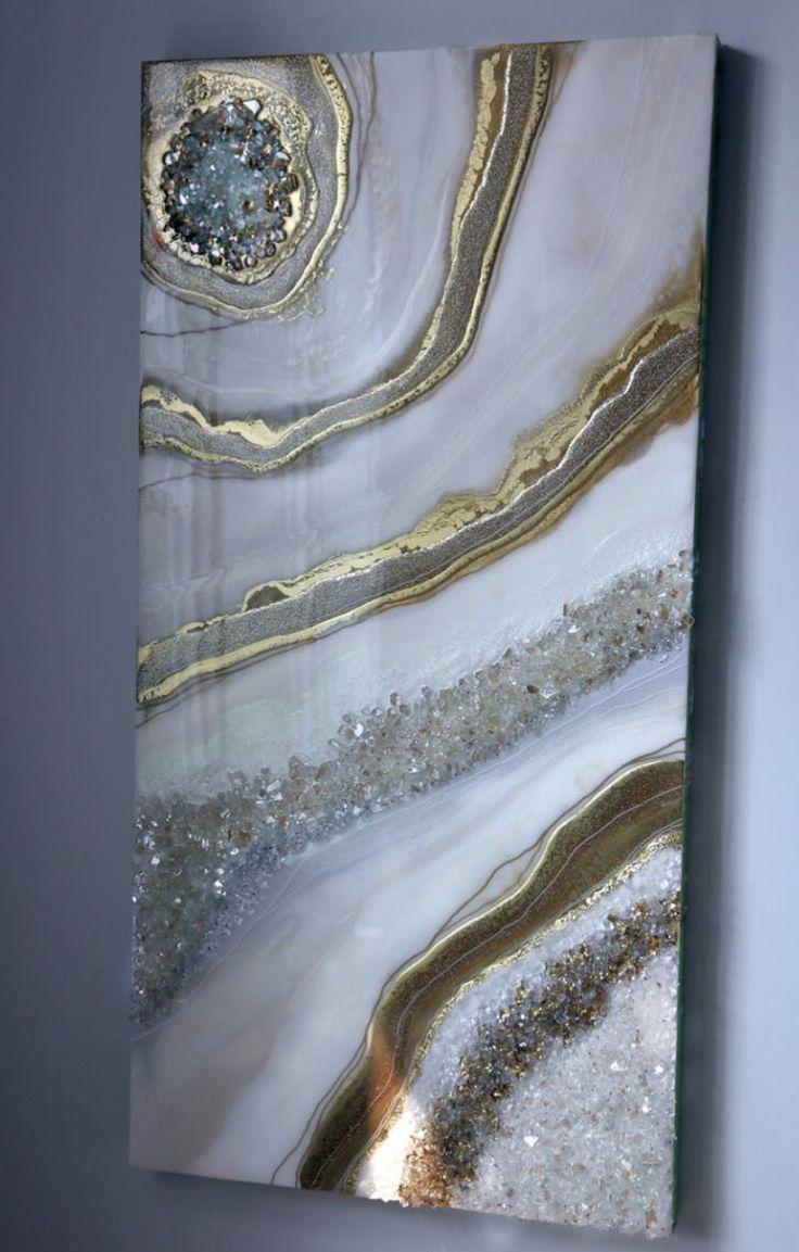Décor De Toile Murale De Peinture Abstraite Dorée Et Blanche