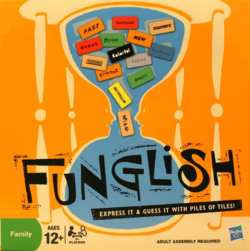 Funglish is a word guessing game full of imagination. Tiles are all players have to guess wacky words.