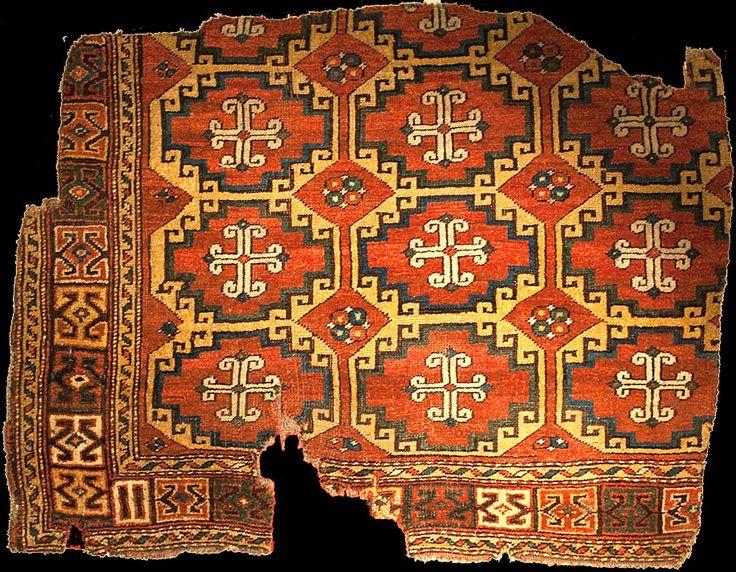 "OTTOMAN CARPETS IN THE XVI - XVII CENTURIES (16-17TH CENTURIES)  Konya Mevlana Museum rug with so called ""Memling"" Güls, XVI (16th) century. Turkey, possibly Çanakkale. inventory no: 859. Dimension: 100x134cm"