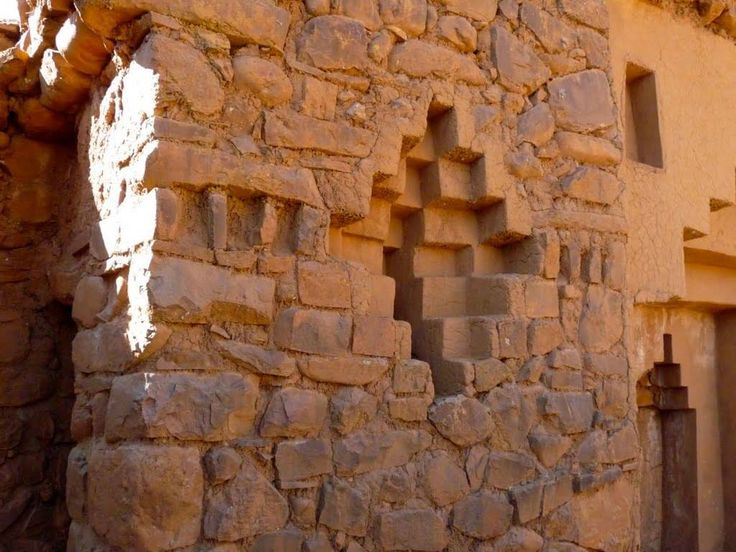 "A three dimensional Chakana at Inak Uyu, temple on Isla de la Luna, lake Titicaca, Bolivia. Chakana is the ""Andean cross."""