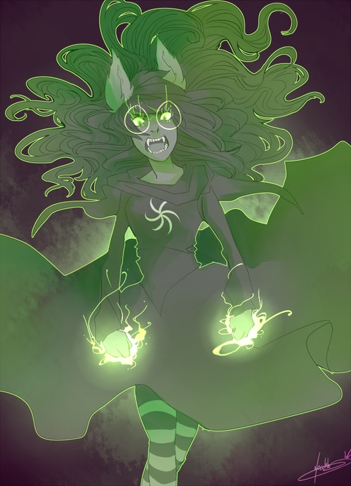 Witch of Space (Dog) Tier Jade.      @Darlene Simmonds Queen      Homestuck is basically an online book