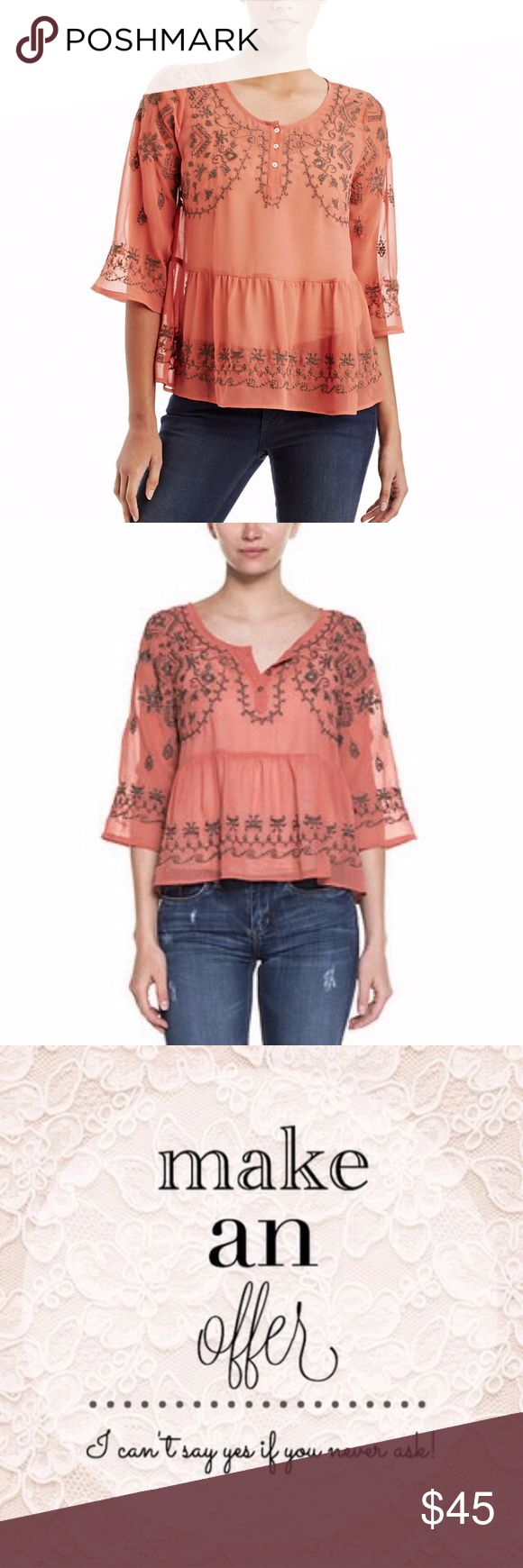 """Free People Rust Embroidered Pennies Sequel Top Free People Rust Embroidered Pennies Sequel Top Sz M Bask in breezy bohemian style with the Free People Pennies top--eclectic embroidery and an airy silhouette are rustic musts Round neck with partial button placket, three quarter sleeves, pleated, sheer Poly / Machine wash Size M ~ Womens Condition: Excellent APPROXIMATE MEASUREMENTS  Underarm to underarm measures 19 1/2"""" Shoulder seam to hem measures  23"""" Underarm to cuff measures 10"""" Free…"""
