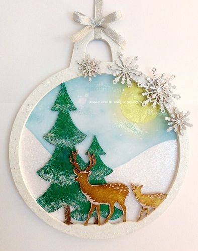 MDF Bauble created by Lisa B for Imagination Crafts. Hochanda ODS Aug 27/28. Rusty Patina, Starlights, Art-Cutz, Distress inks.