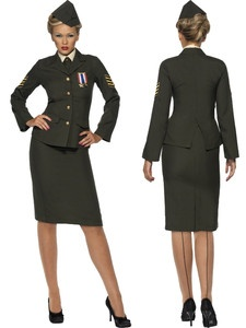 Wartime Officer Army Military Armed Forces 1940s WWII Womens Halloween Costume L | eBay
