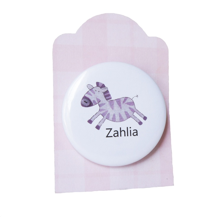 zebra badge - personalised with any childs name http://ooakly.blogspot.com.au/