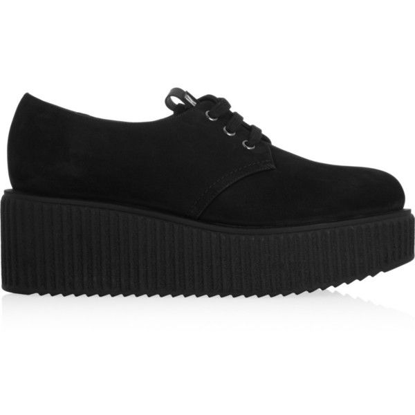 Karl Lagerfeld Suede creepers ($197) ❤ liked on Polyvore featuring shoes, creepers, black, suede lace up shoes, lace up shoes, kohl shoes, round cap and suede leather shoes