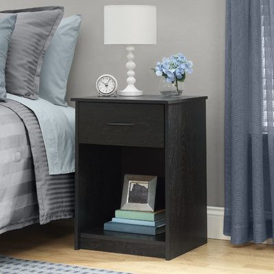 Bowdoin Hill 1 Drawer Nightstand Color: Black Ebony Ash - http://delanico.com/nightstands/bowdoin-hill-1-drawer-nightstand-color-black-ebony-ash-610093168/