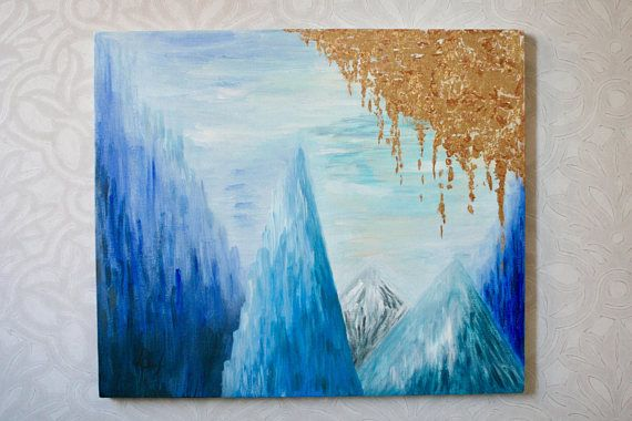 Mountain art, mountain landscape, mountain painting, navy blue abstract art, blue wall art, abstract painting original, abstract landscape ____________________________________________________________________________________________________________________________________________________________________ One-of-a-kind original painting by me, Varvara. This abstract painting represents mountain scape filled with golden light. This mountain painting will look beautiful as home decor for bedroom…