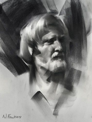 Charcoal portrait tutorial. This tutorial explains light and contrast