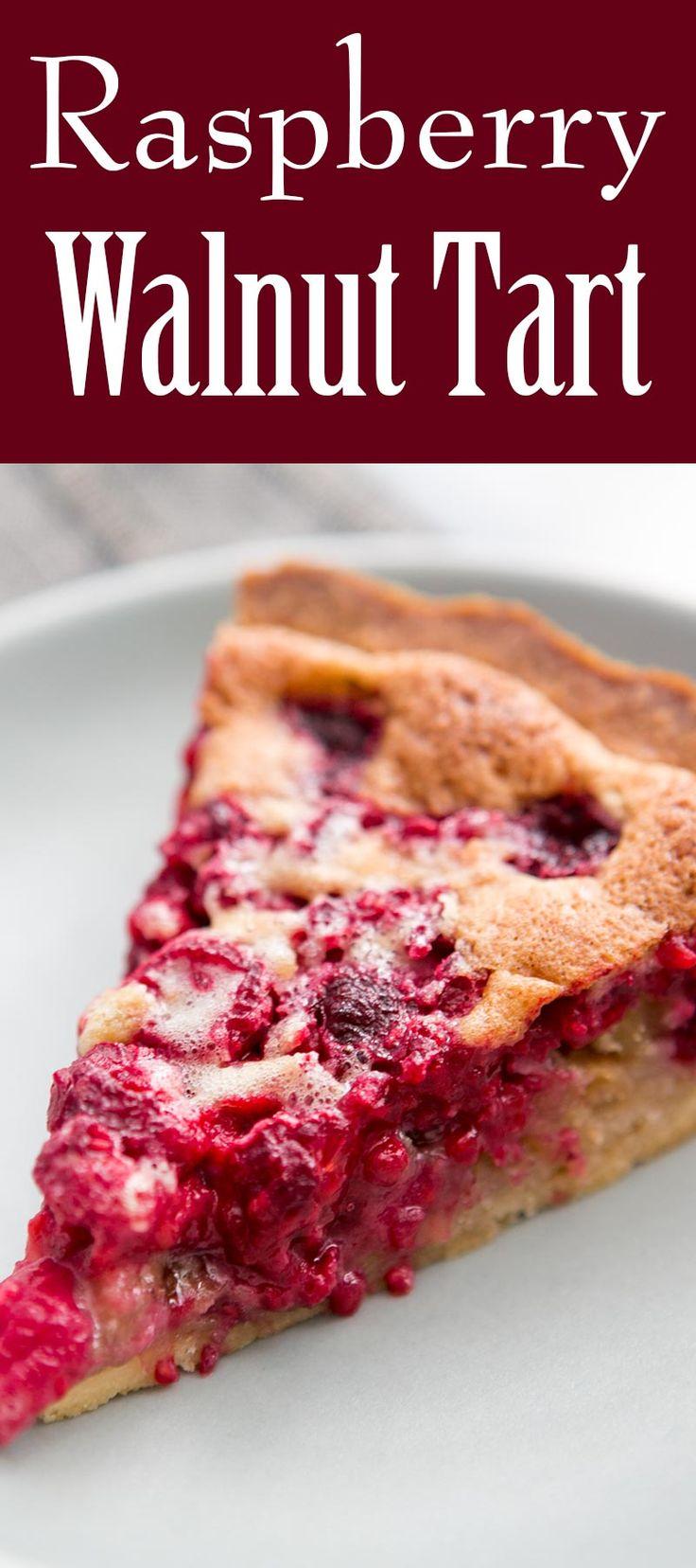 this raspberry walnut tart! with a shortbread crust, chopped walnuts ...