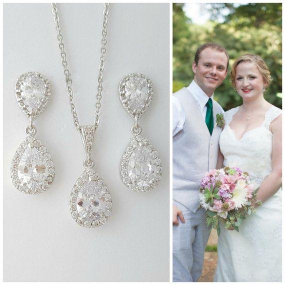 Earring ketting bruid instellen Crystal bruiloft door poetryjewelry