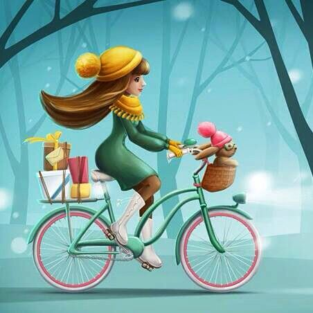 Winter scene with lady on bike bicycle art pinterest for Bicycle painting near me