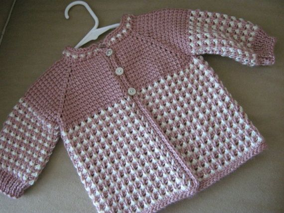 Crochet Pink Rose White Girl Sweater 06 Months by ForBabyCreations, $32.00