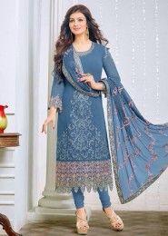 Party Wear Georgette Blue Embroidery Border Work Salwar Kameez