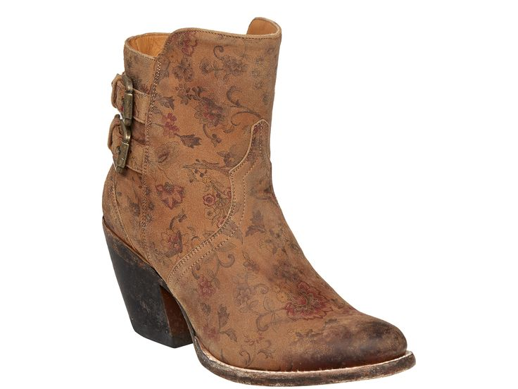 Shop New Lucchese M4953 Catalina Womens Cowhide Leather Western Ankle Boots in Brown Floral.  Free Shipping | Harrison Avenue