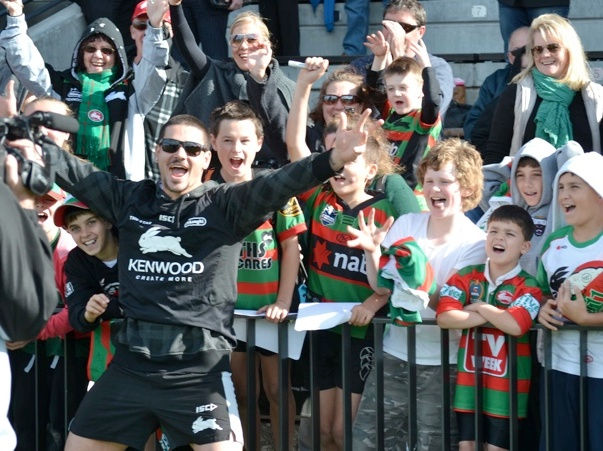 Nathan Peats, the king of the kids at the Rabbitohs Junior Member fan day
