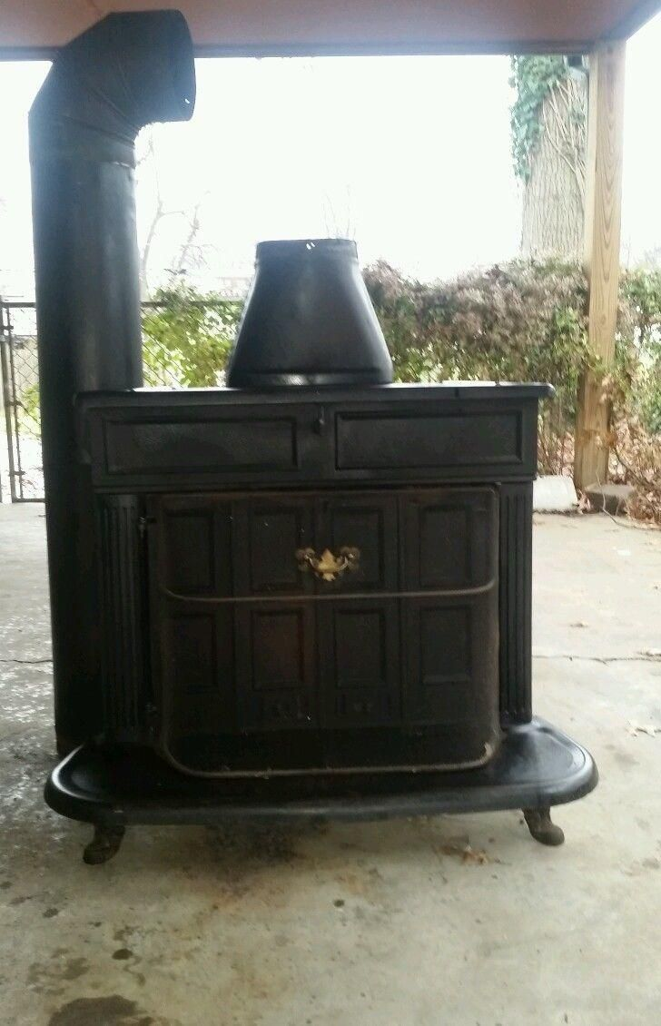 antique cast iron wood burning Franklin stove model 261-ST
